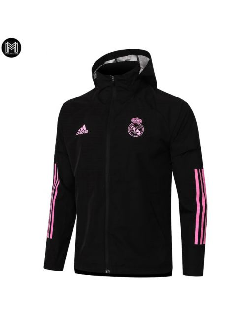 Chaqueta Impermeable Con Capucha Real Madrid 2020/21 - Negra