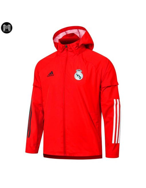 Chaqueta Impermeable Con Capucha Real Madrid 2020/21 - Roja